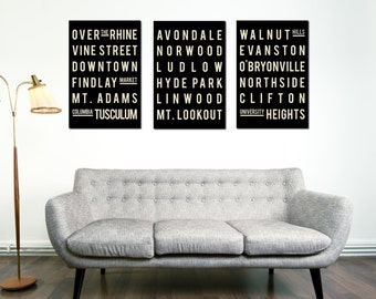 CINCINNATI Print - Subway Sign Typography Poster - Home - Living Room - Decor - City Map - Gift - Modern Art Print -  Set of 3 - Souvenir
