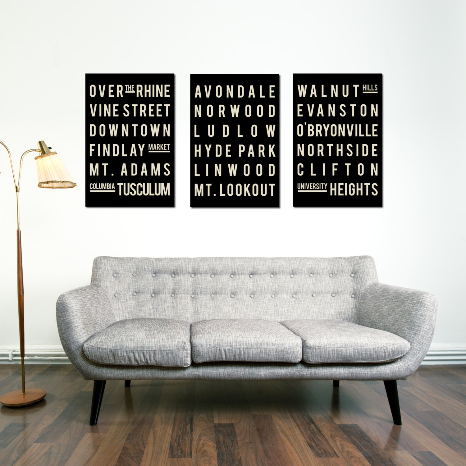 cincinnati print subway sign typography poster home living room decor city - Home Decor Cincinnati