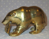 Large Brass Bear with Fish Grizzly with Salmon Figure