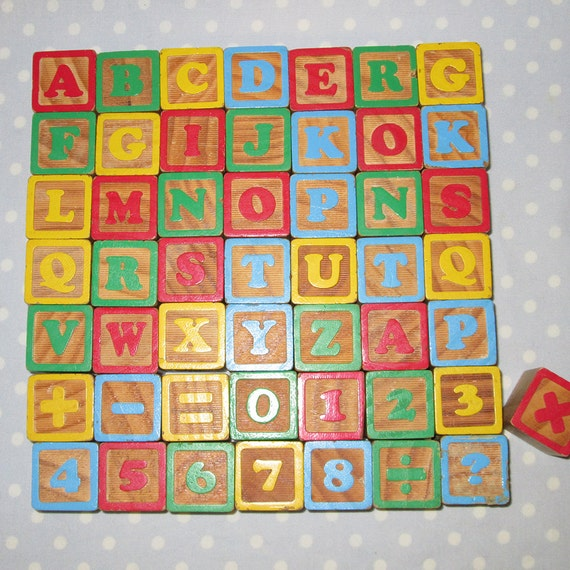 vintage blocks toy alphabet number block alphabet by. Black Bedroom Furniture Sets. Home Design Ideas