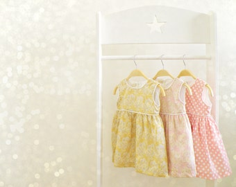 Baby Girl Summer Dress Set, Baby Pastel Pink, Gold or Pink and White Dress, Baby Sleeves Dress, Summer Outfit for Baby Girls