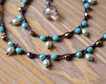 Turquoise Bohemian crochet necklace, wrap bracelet, trendy boho jewelry, beach, green, bronze, cottage chic, pearl dangles