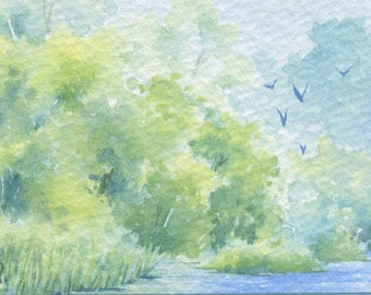 Original ACEO watercolor painting - Flying into the green