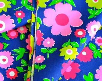 Vintage Fabric Bright Colorful Floral Print Cotton Blend by the Yard