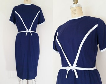 1960s Navy Linen Dress // DIVIDING LINE DRESS // Vintage 60s Blue and White Wiggle Dress // Small Medium