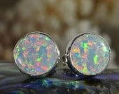 Opal Earrings 8.5mm Studs Earrings Handmade Opal jewelry Gemstone Earrings