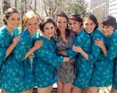Bridesmaids Robes. Kimono Robe.  Dressing Gown.  Bridesmaid's Robe. Blue Sea Breeze Bridesmaids Robes Collection. Knee Length.