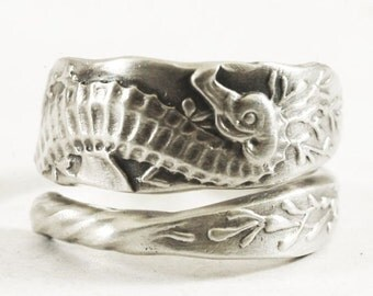 Seahorse Ring, Sterling Silver Spoon Ring, Father Daughter Gift, Ocean Jewelry, Sea Horse Jewelry, Father Son Gift, Custom Ring Size 3577