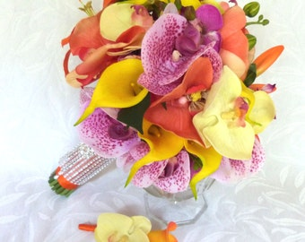 Destination wedding bright colorfull calla lily and orchid bridal bouquet set