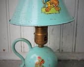Shabby Blue Lamp.  Classic Boys Room Decor. Robin Egg Blue. Sky Blue. Mid Century. Mod. Metal shade