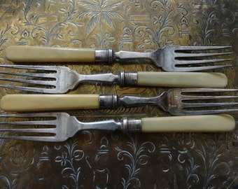 Vintage English silver plated dinner pudding breakfast luncheon table serving fork cutlery circa 1930's / English Shop