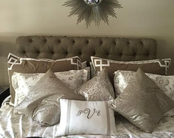 Fretwork border bedding pillow cover shabby cottage nautical - custom bespoke bedroom decor pillow fretwork euro pillow sham by Nurdanceyiz