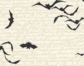Chillingsworth Spooky Ride Cream with Black Bats by Echo Park Paper Co for Andover