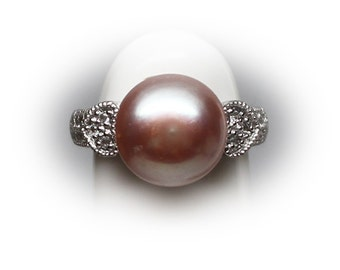 12 mm Grey Maroon Fresh Water  Pearl Solitaire Ring Accented with Diamond Simulant CZs