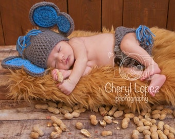 Crochet baby boy elephant baby photo prop, elephant hat and diaper cover set, newborn prop, photo prop, baby shower gift