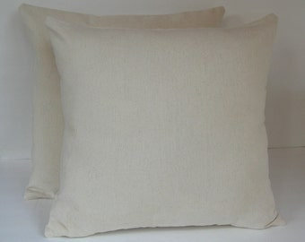 Two (2) Cream or Off white Canvas Pillow Covers Made to Fit 18 inch Pillow Inserts