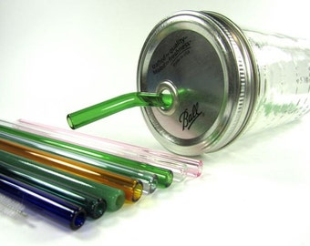 Mason Jar To Go Cup with Standard Glass Straw- 24 ounce