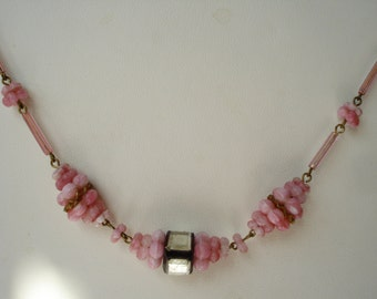 Art Deco Necklace Pink Glass and Mirror Beads Czech 1930s 1920s