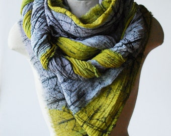 MADE to order, Oversized shawl, large cotton scarf, hand printed scarf, chartreuse and grey scarf