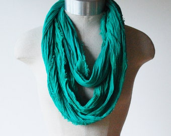 infinity scarf spring, emerald green scarf, May birthstone, extra long green scarf