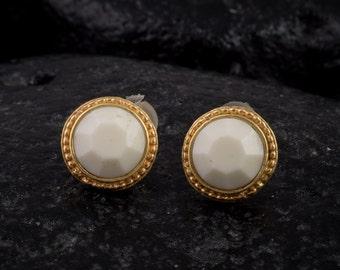 Gold stud earrings, white swarovski crystal, post earrings,gold-filled posts,textured jewelry,eco friendly,BOHO,100% handmade