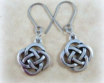 Celtic Earrings - Celtic Open Knot Earrings - Infinity Knot Earrings - Silver Celtic Earrings - Irish Charm Earrings