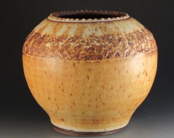 Pottery Vase,  Handmade, Soft Brown Glaze, Textured, Slip Work, Ready To Ship