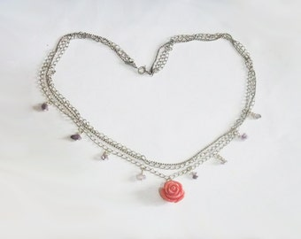 Multi strand Pink rose necklace with amethyst - silver plated