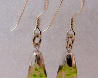 Green flecked drop earrings.