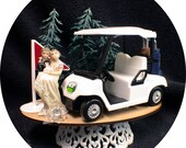 Going Golfing Golf Wedding Cake Topper TOP Funny Bride Groom Top 18th hole Cart