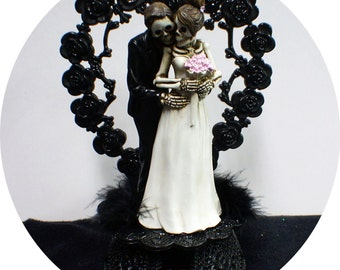 Day of the DEAD Halloween Wedding Cake Topper Funny Skeleton Bride Groom top heart OR Glasses or knife or Book