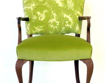 Green embroidered occasional chair