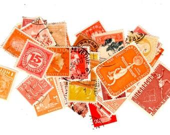 40 Orange International Postage Stamps