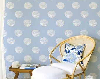 Perch Shell Pattern Stencil for Wallpaper Look