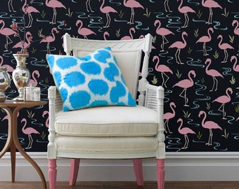 Flamingo Wall Stencil - Colorful Retro Wallpaper Look using Large Painted Bird Stencils Designs