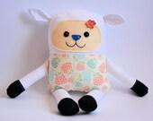 Stuffed toy - sheep with hydrangeas - 38 cm