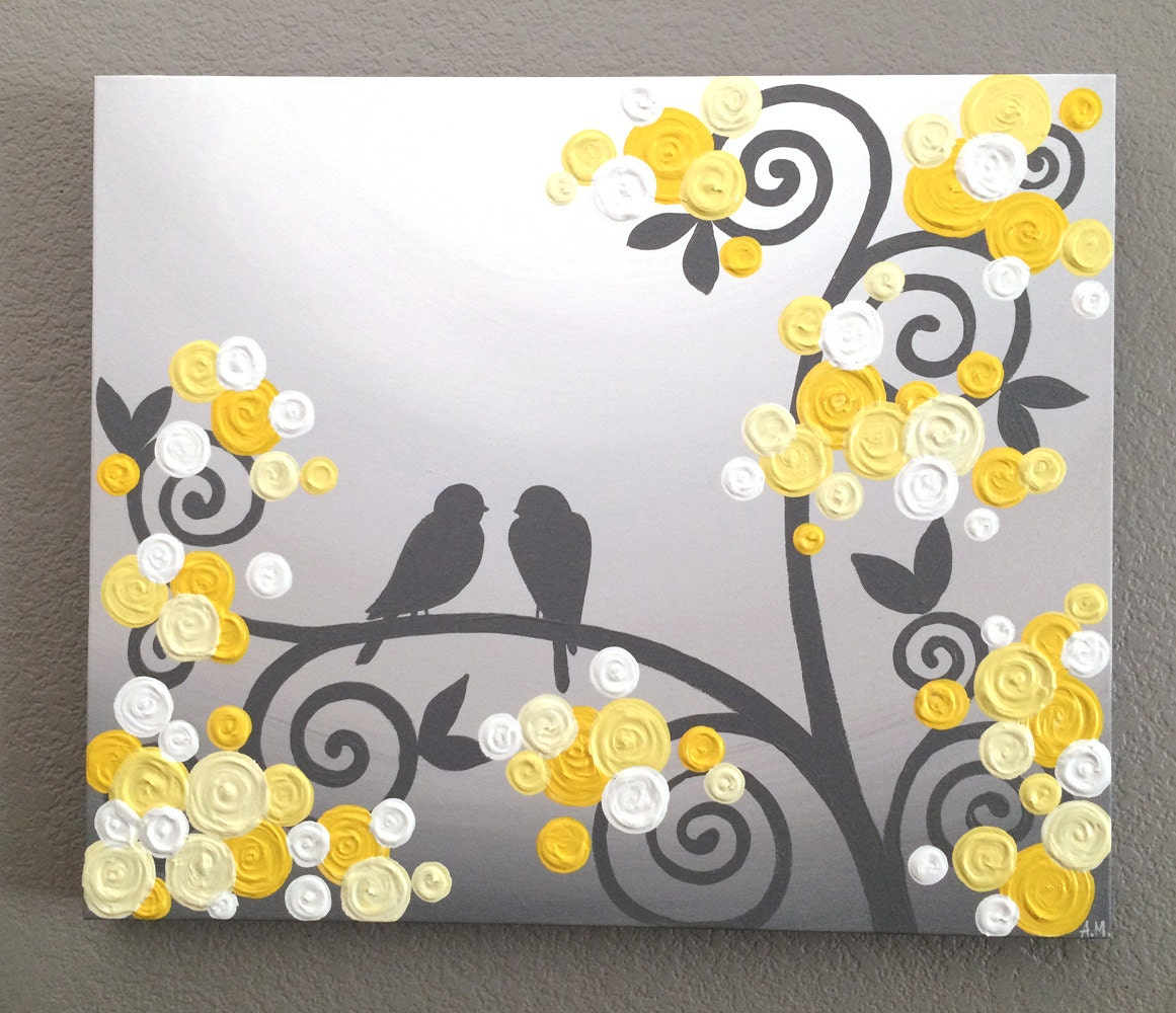 wall art yellow and grey textured birds and flowers acrylic. Black Bedroom Furniture Sets. Home Design Ideas