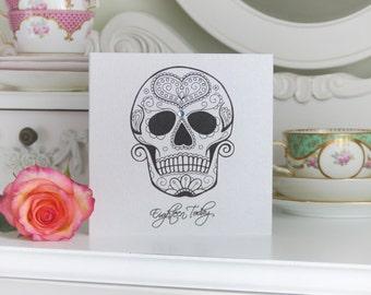Love Sugar Skull Day of the Dead Handmade 18th Birthday Card