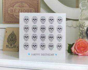 Tattoo Style Sugar Skull Pattern Luxury Birthday Card