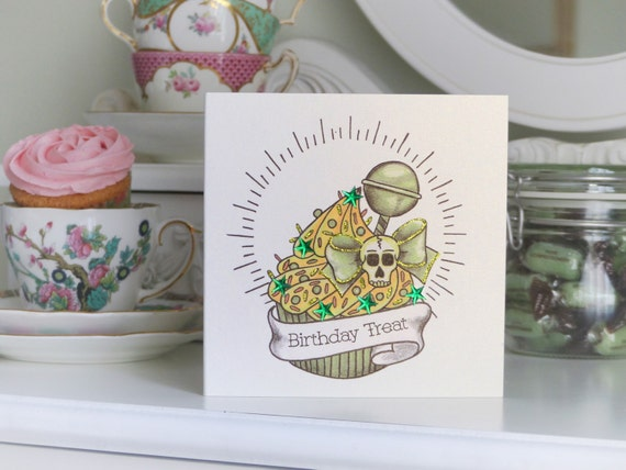 Lemon lime skull cupcake tattoo handmade birthday card