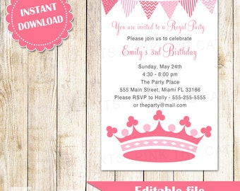 Princess Invitation - Kids Girl Birthday Party Invites Pink Crown Editable File INSTANT DOWNLOAD