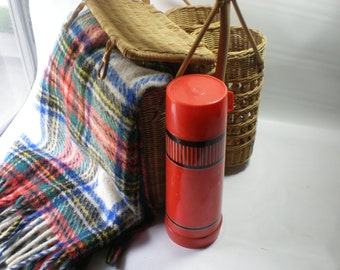 Wicker Picnic Basket with Large Thermos and Wool Blanket Vintage