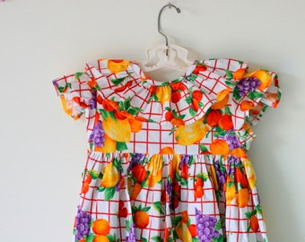Vintage FRUIT Dress.size 6 kids..cotton. vintage kids. fruit. lemon. children. colorful. 1980s. summer. picnic. kitsch. cherries. strawberry