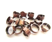 16 Wide Band Adjustable Ring Blanks / Antiqued Copper-#002
