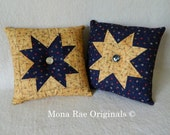 Patriotic Star Pillows ~ Two 13 Inch pillows ~ Navy Blue and Creme Star and Flag Pillow ~ TOSCOFG