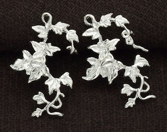 2 of 925 Sterling Silver Ivy Charms 15x23mm.,Delicate Charms,  Polish Finished.  :tm0059