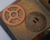 Set of 2 Antique brass wheel, clock gear, finding