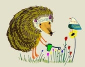 Children's wall art nursery decor print - ''The Hedgehog Gardening''.