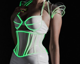 Clear PVC and GREEN Glow trim Pauldron shrug Size M (production sample)