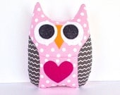 Personalized Owl Tooth Fairy Pillow - Pink with Gray Wings